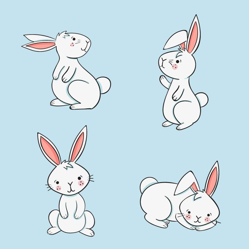 手绘可爱的兔子矢量素材(AI/EPS/免扣PNG)