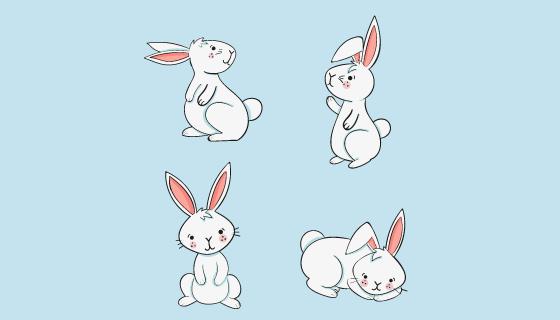 手绘可爱的兔子矢量素材(AI/EPS/PNG)