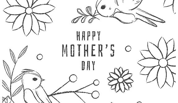 手绘黑白母亲节背景矢量素材(EPS/AI)