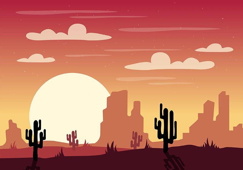 沙漠景观矢量素材(AI/SVG)