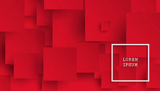 红色正方形抽象背景矢量素材(EPS)