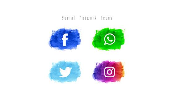 4个水彩社会化图标矢量素材(EPS)