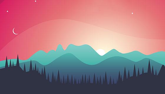 美丽的日落景观矢量素材(EPS)