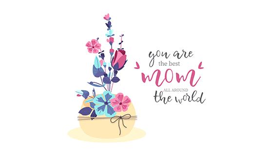 可爱的花束母亲节矢量素材(EPS)