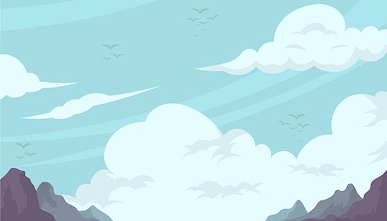 扁平风格多云天空背景矢量素材(EPS/AI)