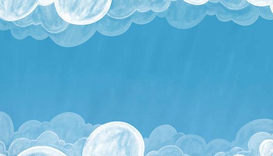 水彩天空白云背景矢量素材(EPS/AI)