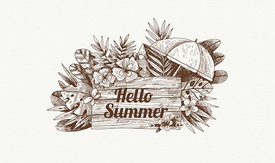 手绘风格夏季花卉背景矢量素材(EPS/AI)