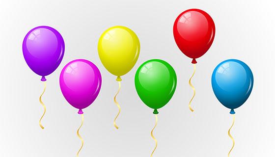 6个彩色气球矢量素材(EPS/PNG)