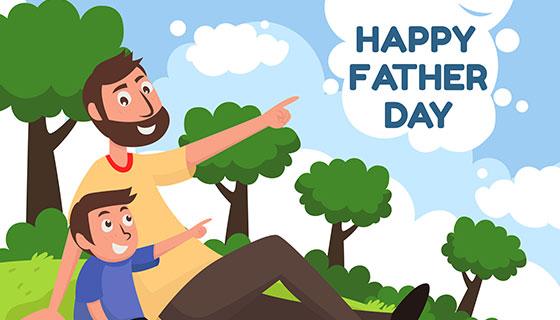 爸爸和儿子在自然中的父亲节背景矢量素材(EPS/AI)