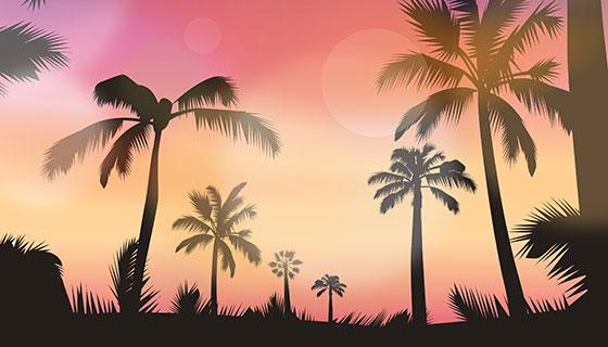 日落景观矢量素材(EPS)