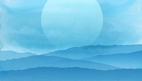 抽象水彩风格日落背景矢量素材(EPS)
