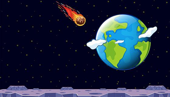 飞向地球的流星矢量素材(EPS)