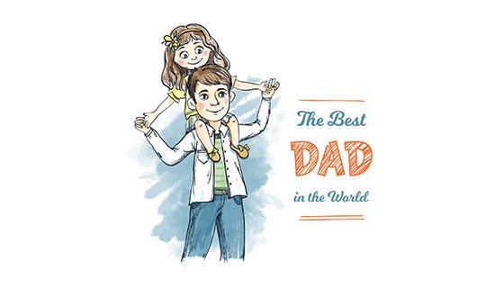 女儿坐在爸爸肩上父亲节矢量素材(EPS/AI)