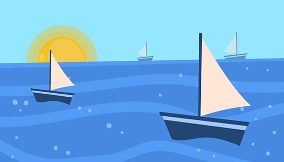 夏日大海帆船背景矢量素材(EPS/AI)