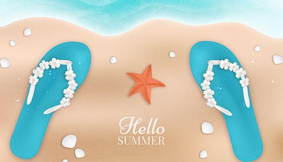 俯视海滩夏日背景矢量素材(EPS/AI)