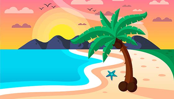海滩日落背景矢量素材(EPS/AI)