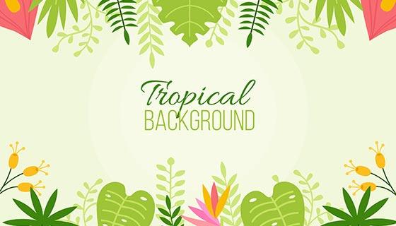 热带植物背景矢量素材(EPS/AI)