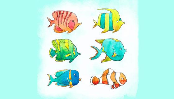 水彩风格的鱼矢量素材(EPS/AI)