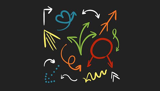 手绘彩色箭头矢量素材(EPS/AI)