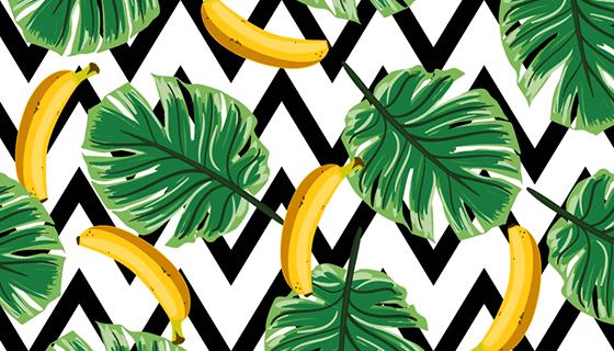 扁平风格香蕉图案矢量素材(EPS/AI)