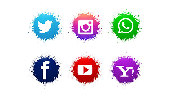 抽象水彩社会媒体图标矢量素材(EPS)
