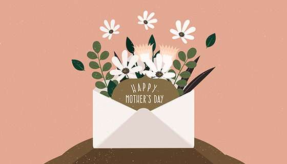 信封装满鲜花的母亲节背景矢量素材(EPS/AI)