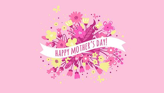 鲜花花束母亲节背景矢量素材(EPS/AI)