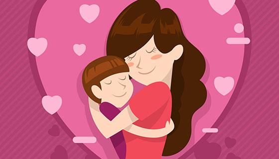 母子拥抱母亲节背景矢量素材(EPS/AI)