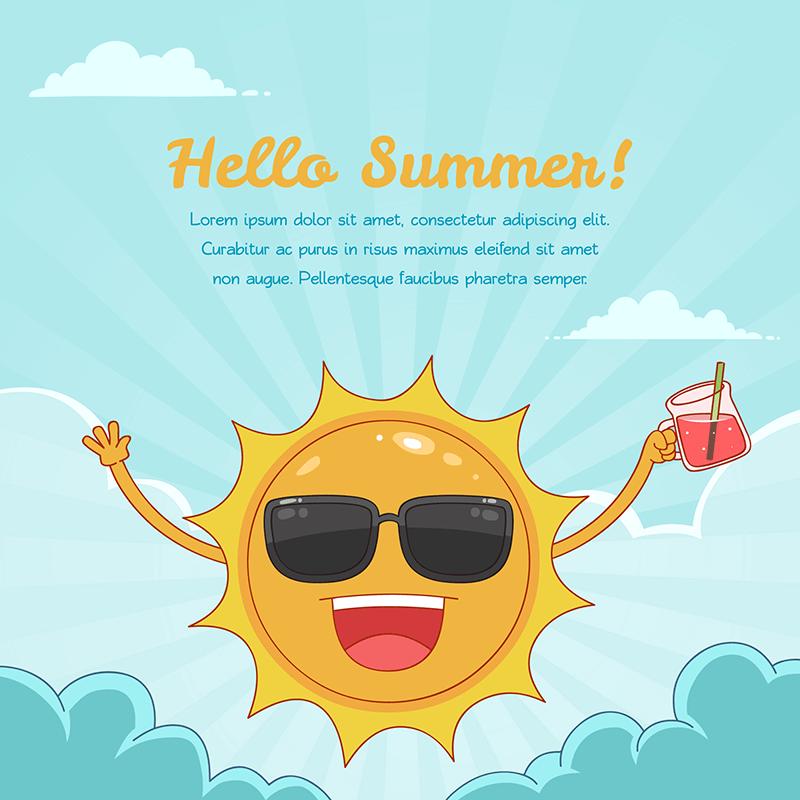 有趣的太阳元素夏天背景矢量素材(EPS/AI)