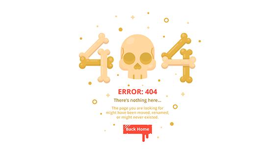 骷髅头设计404错误页面矢量素材(EPS/AI)