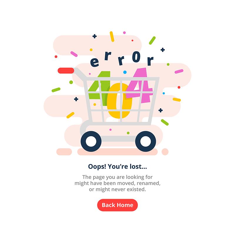 购物车设计404错误页面矢量素材(EPS/AI)