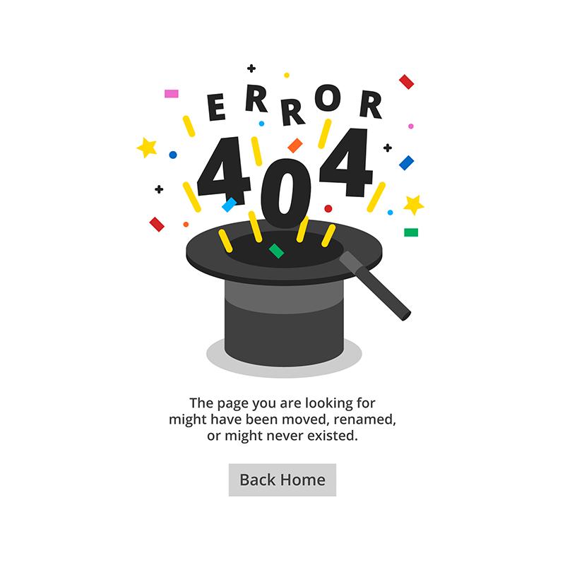 魔术帽设计404错误页面矢量素材(EPS/AI)