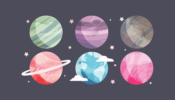 水彩行星矢量素材(EPS/AI/SVG)