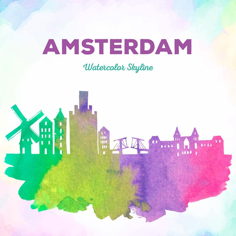 阿姆斯特丹水彩剪影矢量素材(EPS/AI)