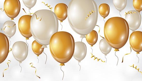 白色金色气球生日快乐背景矢量素材(EPS/AI)