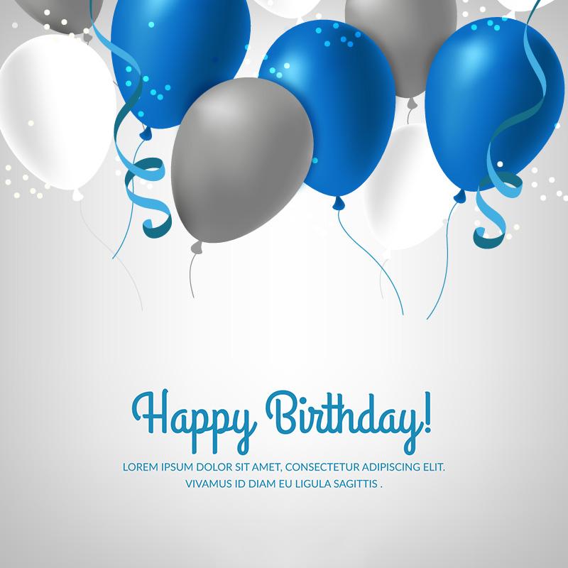 蓝色银色气球生日快乐背景矢量素材(EPS/AI)