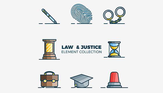 法律司法元素矢量素材(EPS/AI)
