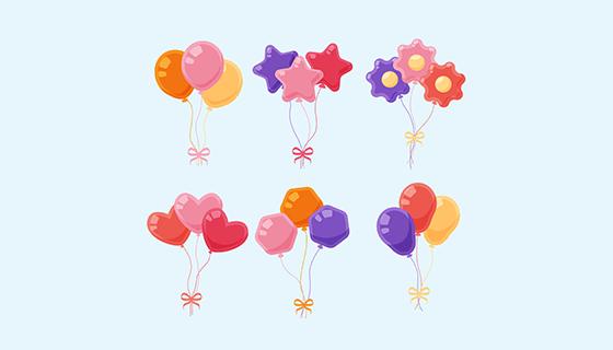 可爱多彩的装饰气球矢量素材(EPS/AI/PNG)