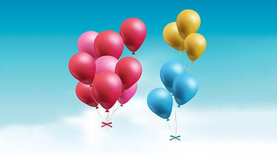 天空中漂浮的彩色气球矢量素材(EPS/AI/PNG)