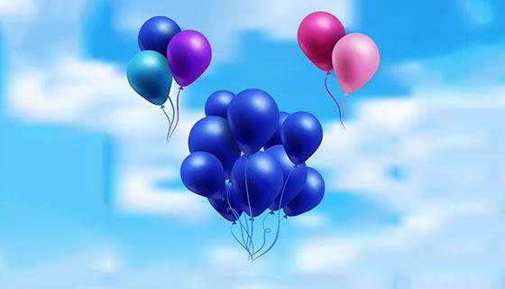 漂浮在天空中的多彩气球矢量素材(EPS/AI)